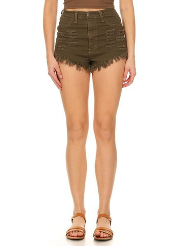 High Rise Fray Destroyed Denim Short Olive