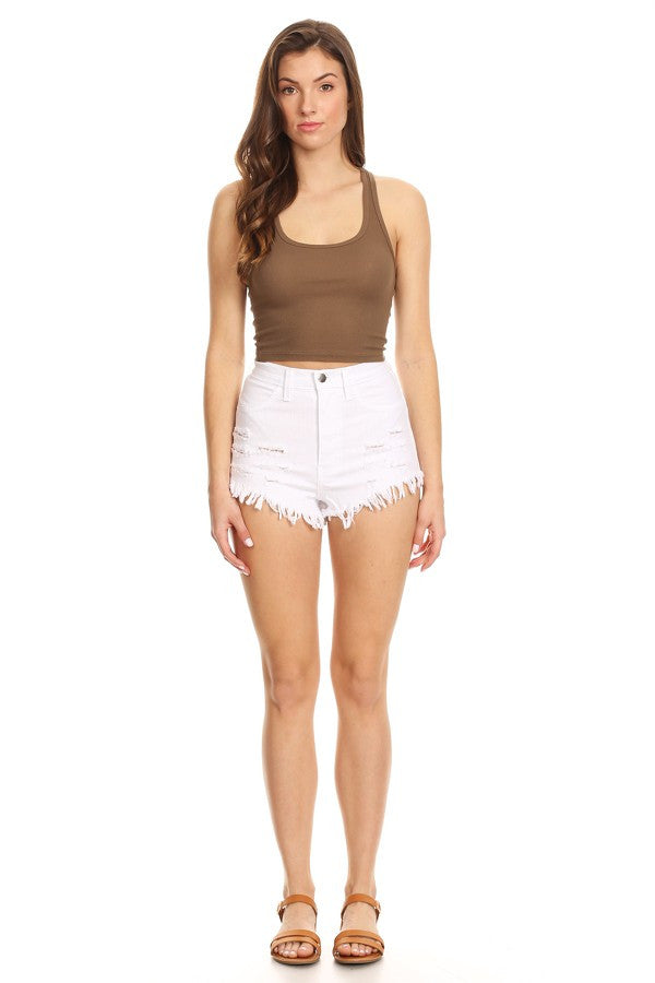 High Rise Fray Destroyed Denim Short White