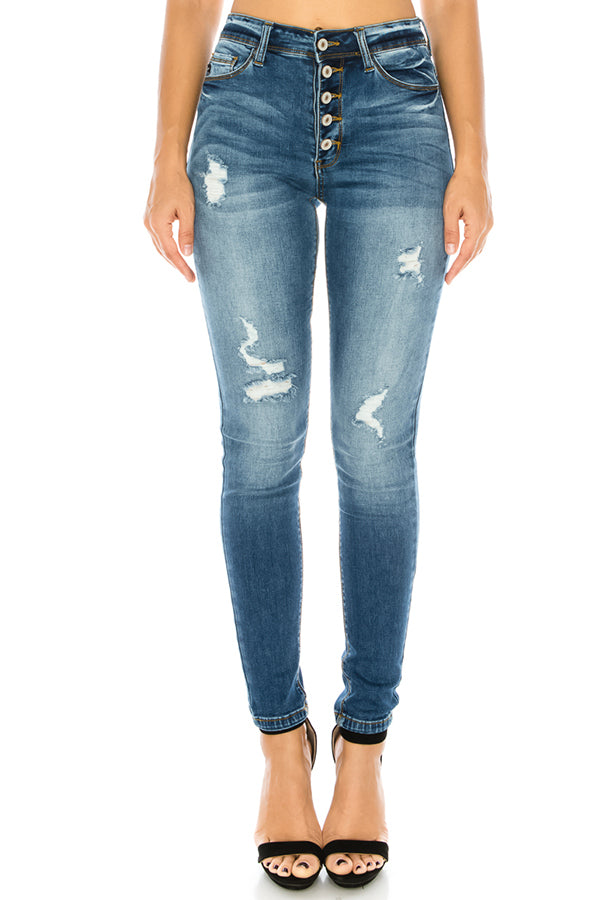 High Rise Button Fly Ripped Skinny Jeans