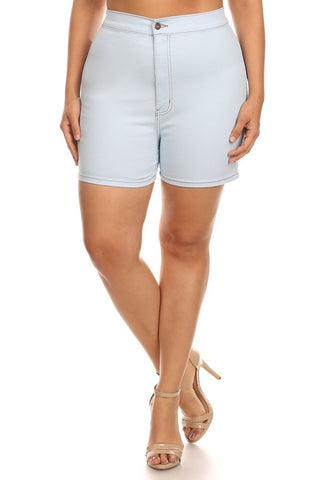 High Rise Basic Stretch Denim Short