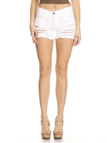 Shorts White Frayed Overdye Denim