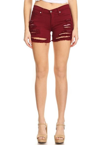 Shorts Burgundy Frayed Overdye Denim