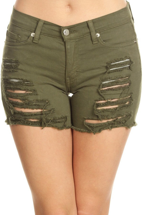 Shorts Army Green Frayed Overdye Denim