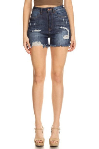 Frayed Leg Opening Denim Shorts Dark