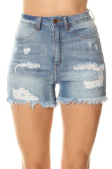 Frayed Leg Opening Denim Shorts
