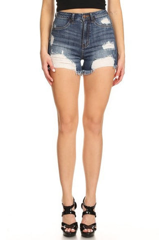 High Rise Denim Short Frayed Leg Openings