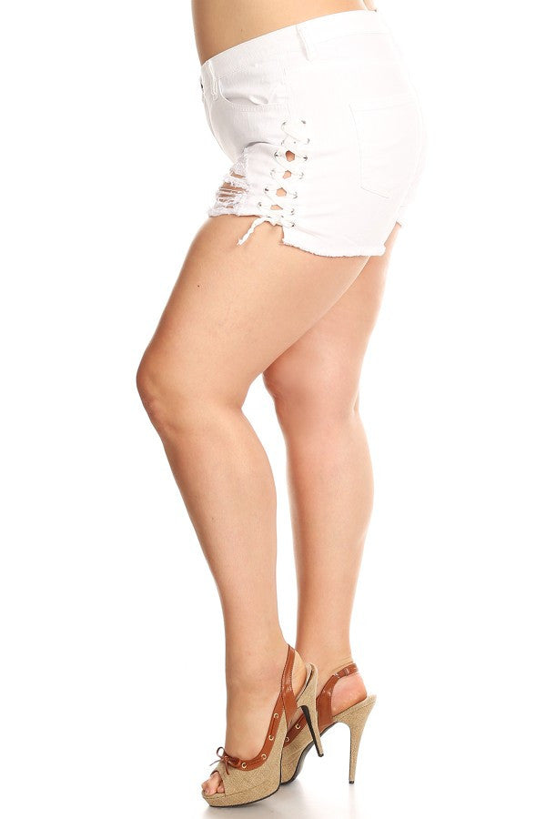 Outseam Lace Up Shorts White
