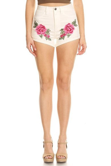Flower Patch Shorts White