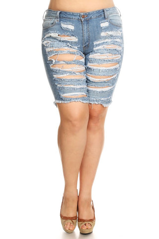 Slice Distressed Slim Fit Denim Shorts