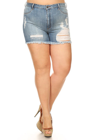 Rear Sliced Frayed Leg Denim Shorts