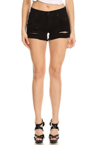 Frayed Bottom Shorts with Destruction Black