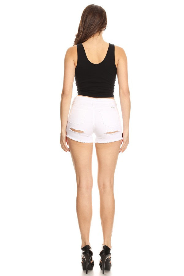 Frayed Bottom Shorts with Destruction White