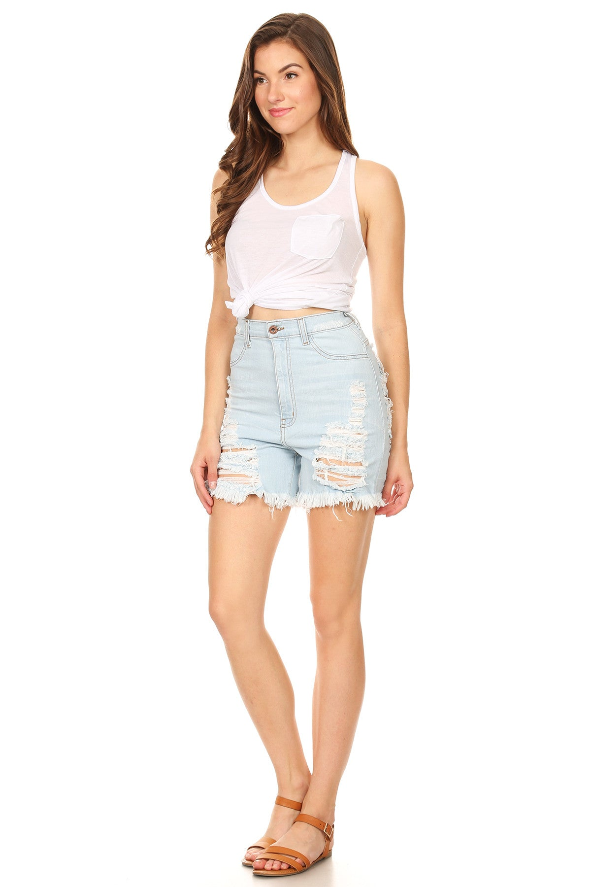 Light Denim Frayed Bottom Shorts