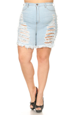 Super Destroyed Frayed Light Denim Shorts