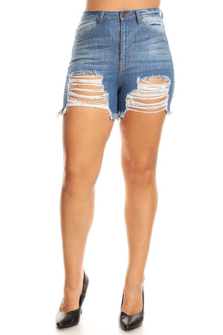 Destructed Denim Shorts with Frayed Leg Opening