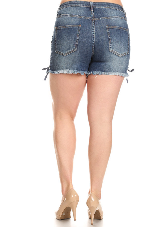 Frayed Outseam Lace Up Denim Shorts