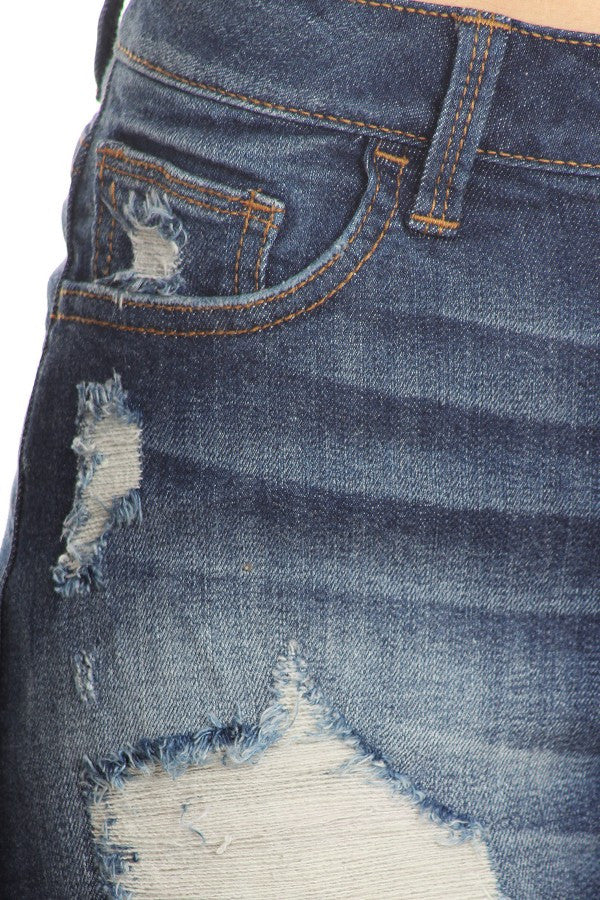 Mild Hand Sanding Dark Denim Frayed Shorts
