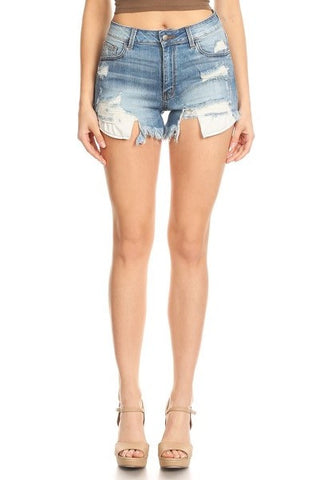 Mild Hand Sanding M Blue Denim Frayed Shorts