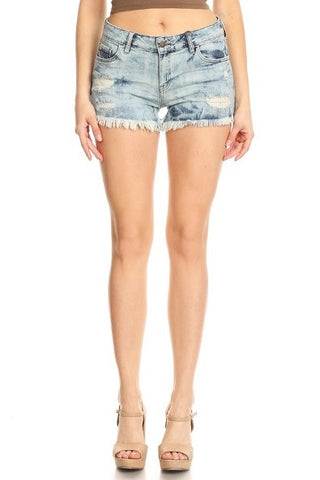 Mild Distressed Frayed Denim Jean Shorts