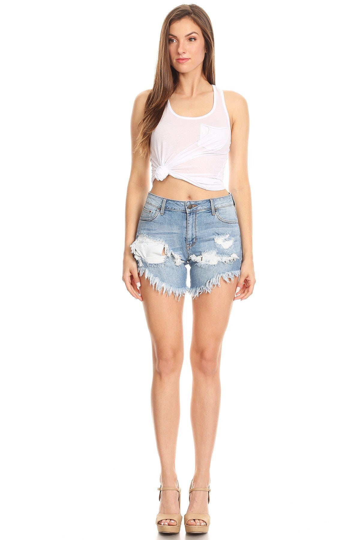 Button Fly Frayed Shorts Thigh Cut Outs
