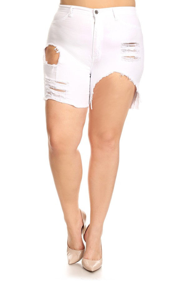 Frayed Bottom Shorts Distressed White