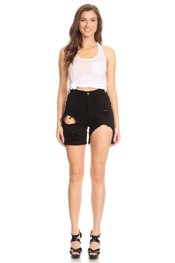 Frayed Bottom Shorts Distressed Black