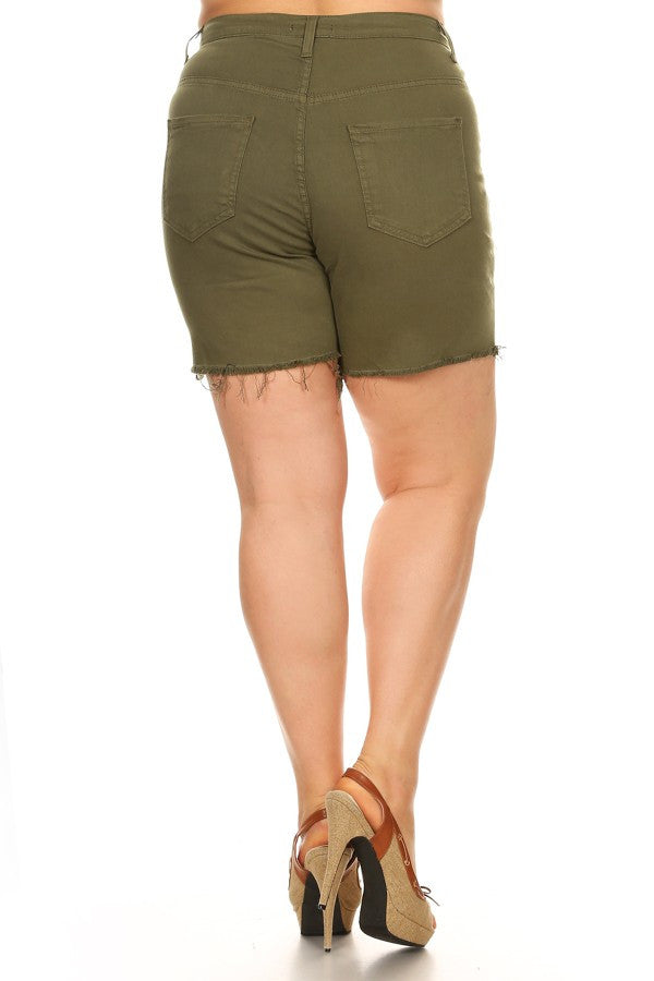 Frayed Bottom Shorts with Destruction Army Green