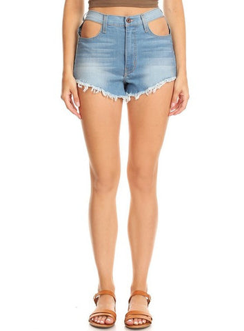 Bare Front Pockets Frayed Shorts