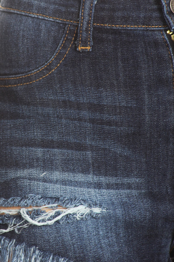 Frayed Denim Shorts Hand Sanding&Destruction