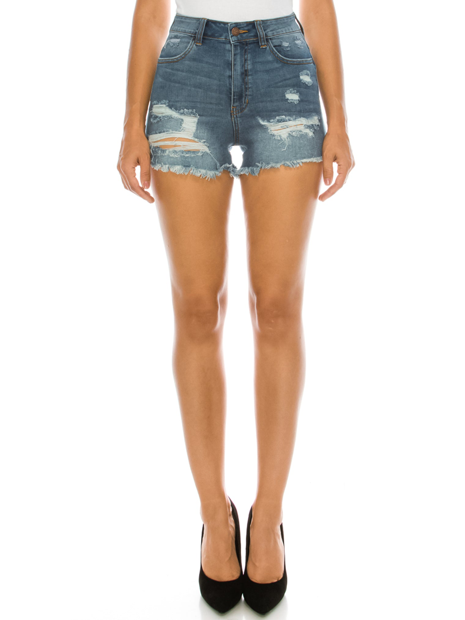 Destructed Frayed Denim Shorts