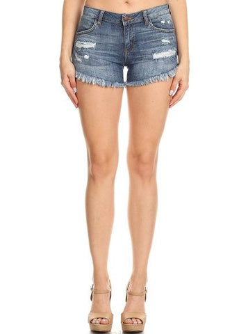 Frayed Shorts Whiskers Heavy Hand Sanding Back Pocket Illusion