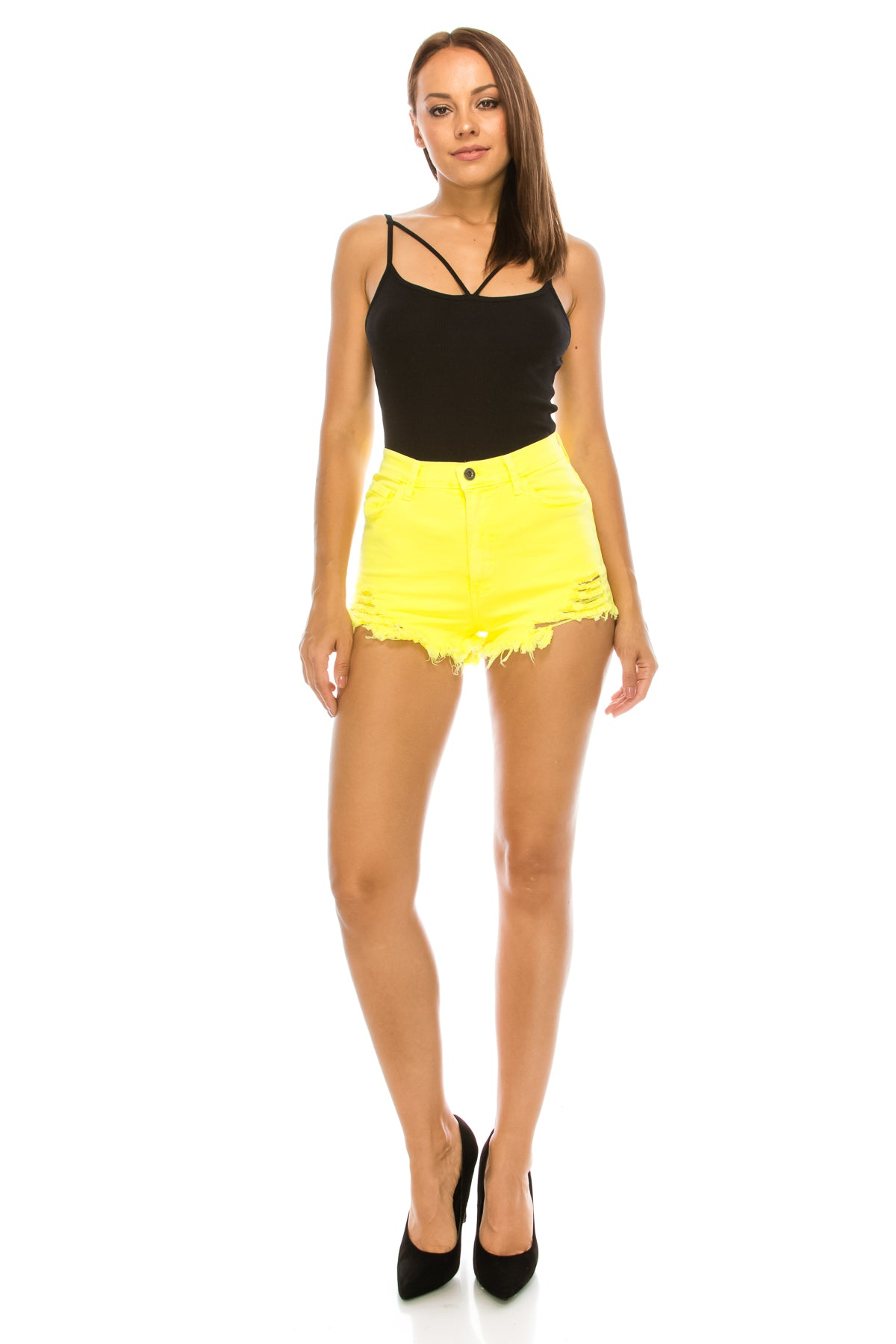 High Rise Shorts Fray Whit Destroy