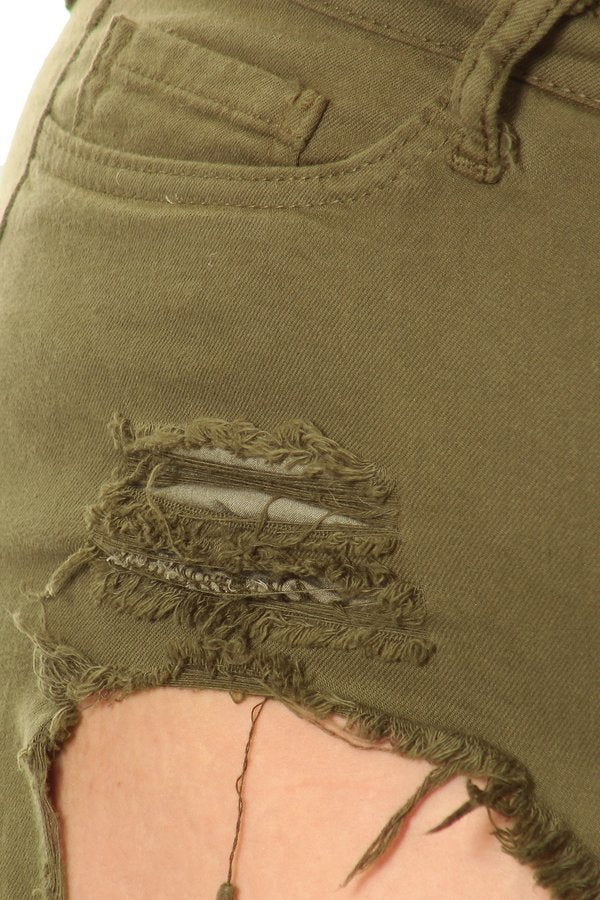 Frayed Overdye Shorts with Destruction PaleGreen
