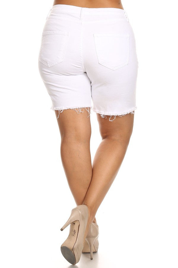 Semi High Rise White Denim Short