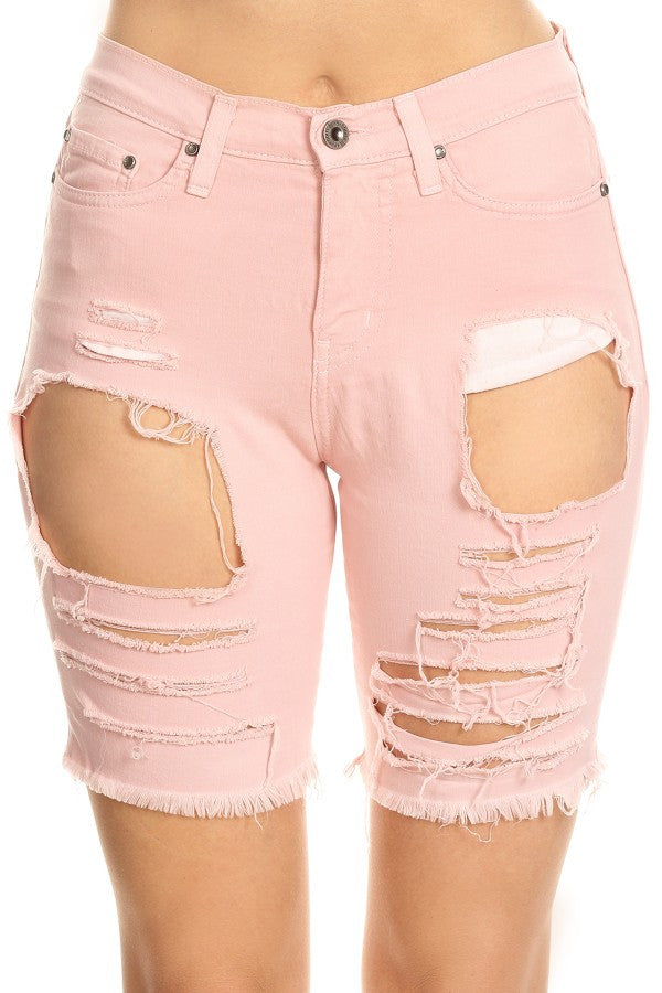 Frayed Overdye Shorts with Destruction Blush