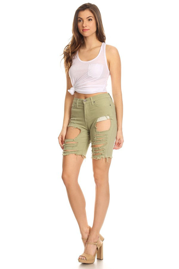 women stretchy jean shorts