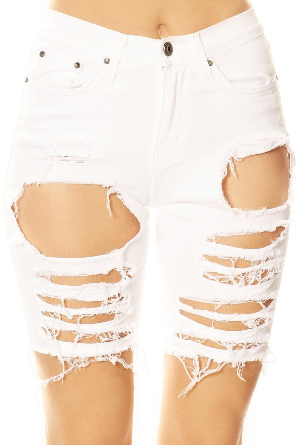 women stretch jean shorts