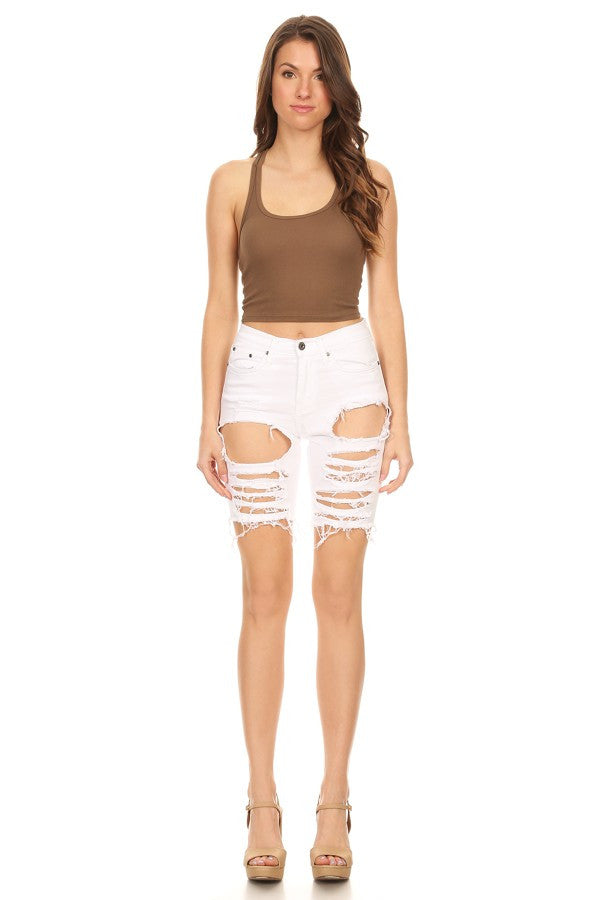 Frayed Overdye Shorts with Destruction White