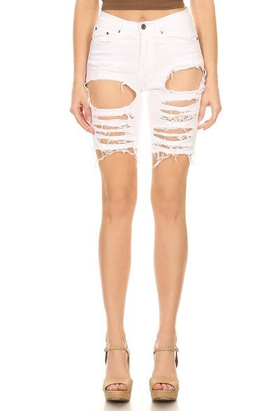 women distressed short jeans