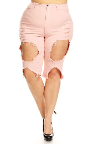 High Rise Skinny Capri Jean Shorts