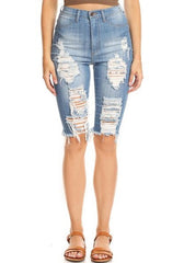 Frayed Bermuda Leg Slices Shorts