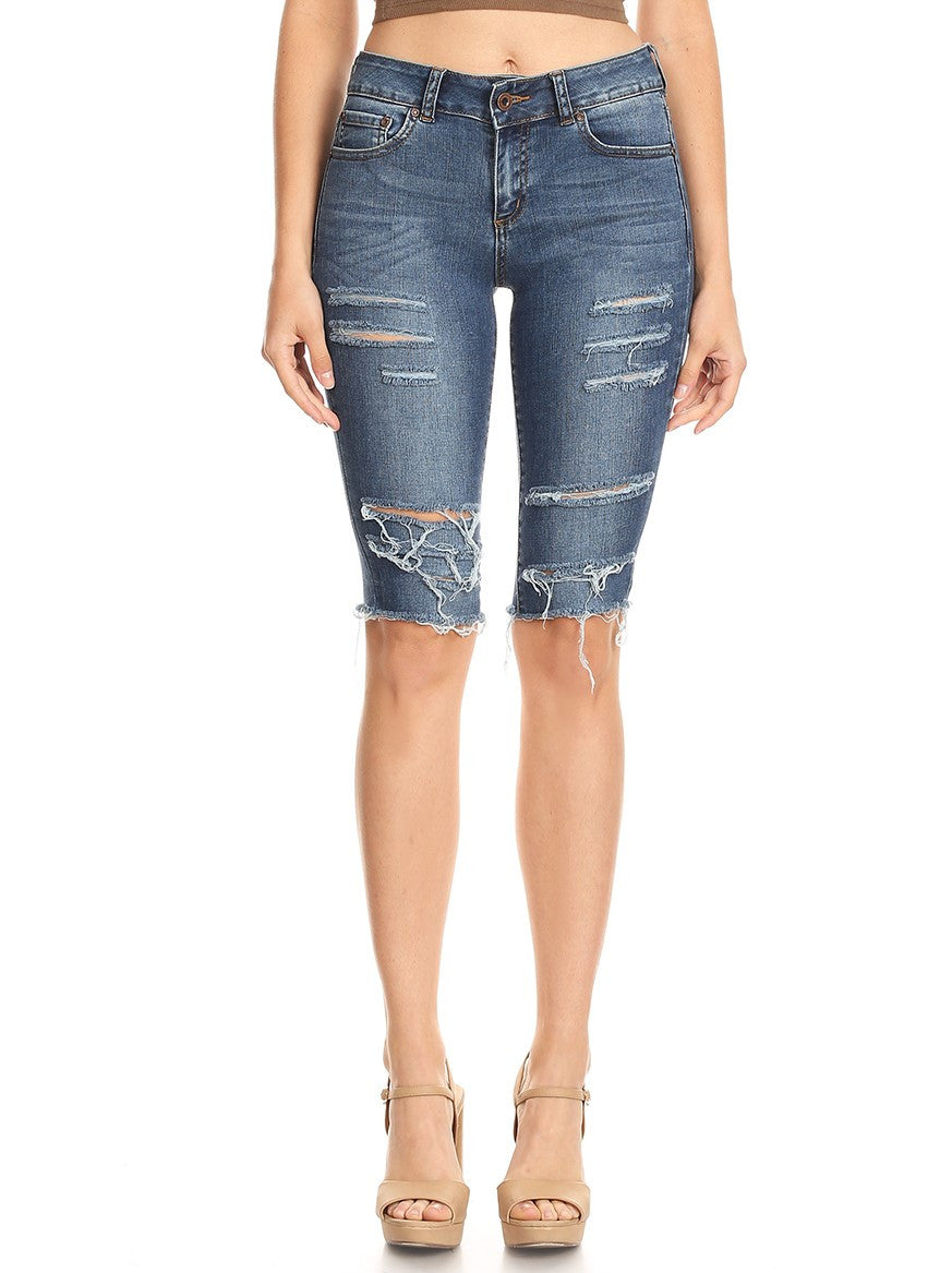 Bermuda Hand Sanding Destruction Denim Short