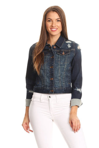 Casual Collared Denim Jacket