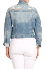 Casual Collared Denim Jacket+