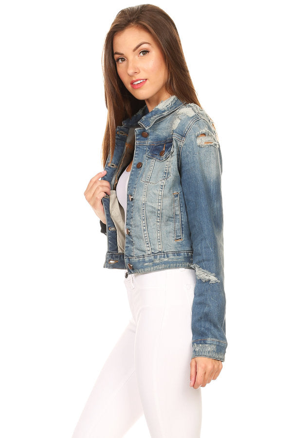 Destoryed Collared Denim Jacket