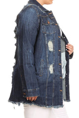 Collared Long Sleeve Denim Jacket+