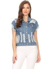 Frayed Short Sleeve Denim Shirt Heavy Destruction