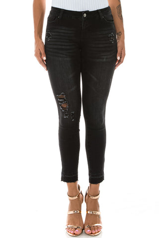 Mid Rise Denim Comfy Fitted Black Jeans