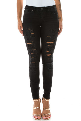 Mid Rise Denim Comfy Fitted Jeans Black