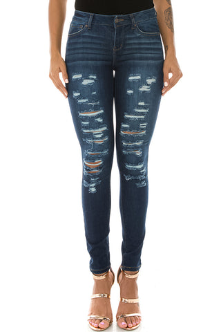 Mid Rise Denim Comfy Fitted Jeans Dark Blue